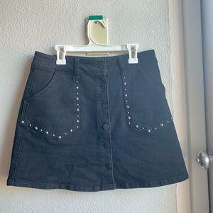 Black studded jean skirt